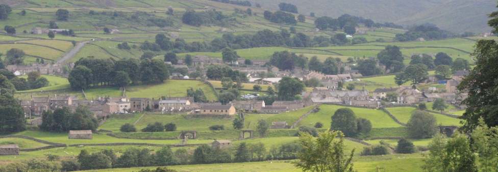 Hawes town surrounded by hills - Hawes